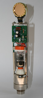 Open chassis of the FAR m215 showing capsule, circuit boards and tube